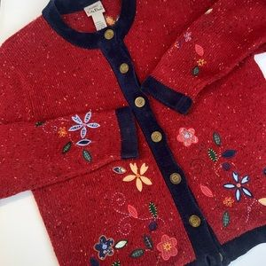 Vintage Red Floral Embroidered Cardigan Sweater